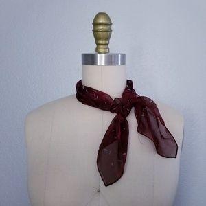 Vintage maroon silk scarf hairtie